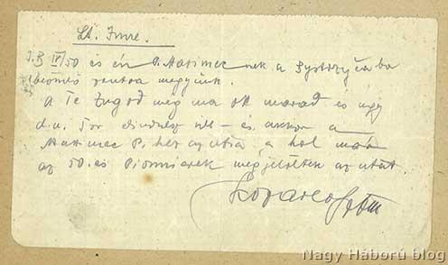 Kozarev százados idézett eredeti parancsa is megőrződött Imre Gábor naplójában