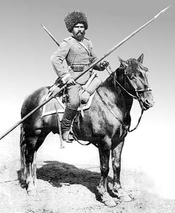 Szibériai kozák katona pikával