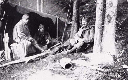 Honvédhuszár telefonállomás 1916 őszén
