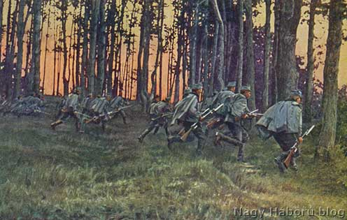 Ulánusok rohama az erdőben korabeli képeslapon