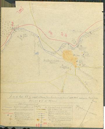 Kókay László által a naplójában készített vázlat a császári és királyi szegedi 46. gyalogezred San Martino del Carso előtt lévő állásairól 1916. március havában