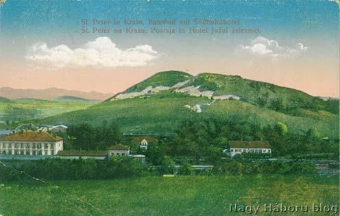 St. Peter vasútállomása korabeli képeslapon