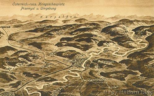 Przemyśl és környéke É-ÉK-ről nézve, korabeli képeslapon
