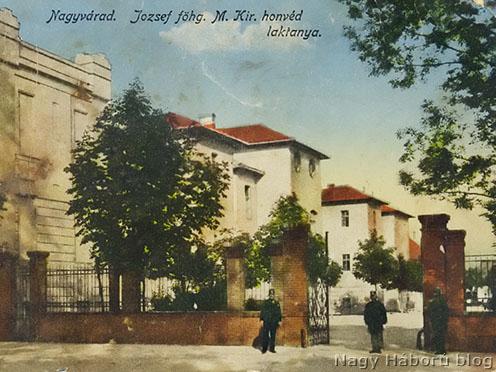 A 4-es honvéd gyalogezred laktanyája Nagyváradon