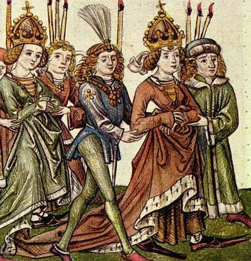 Cillei Borbála bevonulása a konstanzi zsinatra. A kép bal szélén látható koronás alak a lánya, Luxemburgi Erzsébet, aki azonban ekkor még csak gyermekkorú volt