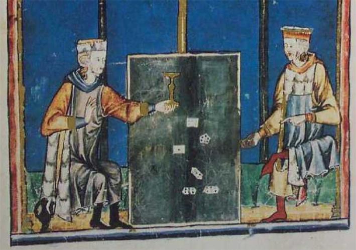 Kockajátékosok egy középkori ábrázoláson, hétoldalú kockákkal