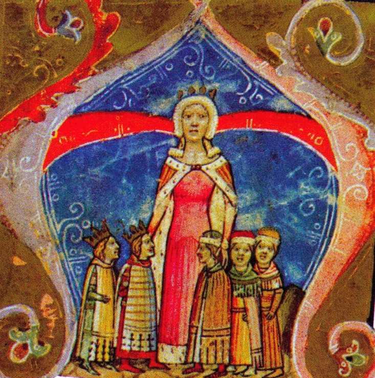 Piast Erzsébet és gyermekei a Képes Krónika csaknem egykorú ábrázolásán. Hogy melyik gyermek kicsoda a képen, arról vita folyik a középkorászok között.