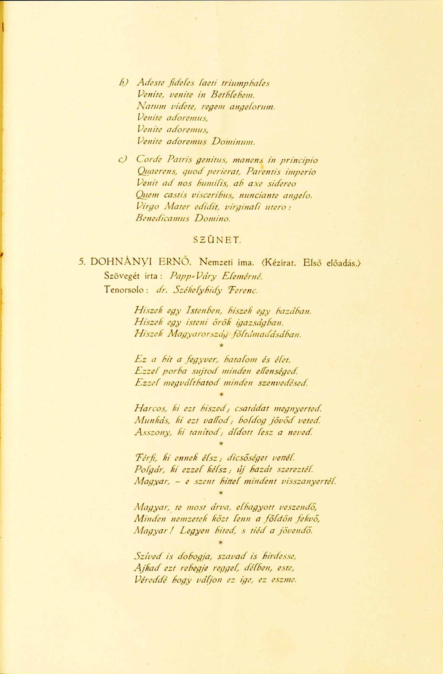 -Az 1920. december 27-i hangverseny műsora. Dohnányi Ernő hagyatéka – Zeneműtár