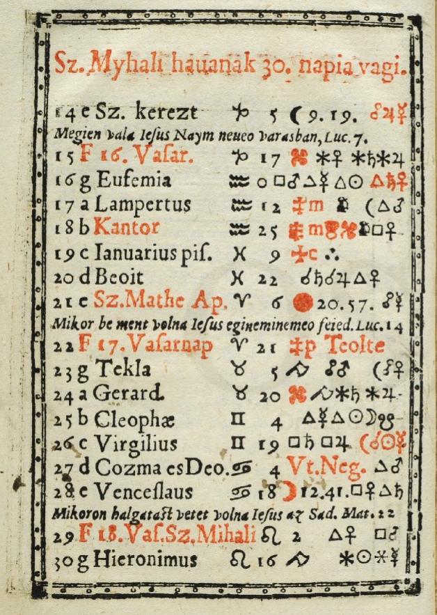 """""""Kalendarium, es az ielen valo…"""", 1583 (RMNY 503) – Régi Nyomtatványok Tára Ezt az egyetlen példányban fennmaradt magyar nyelvű kalendáriumot Piotr Słowacki (1588†) krakkói matematikus és csillagász állította össze"""