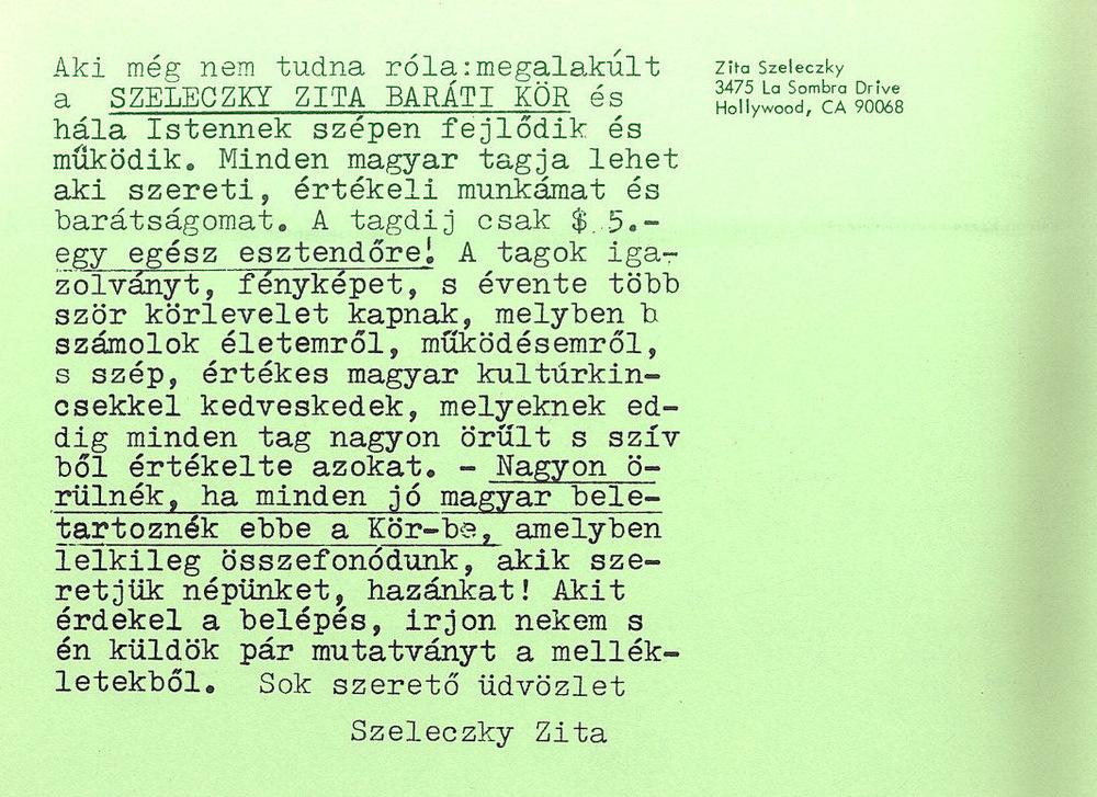 Szeleczky Zita lemezeladási reklámszövege 1986-ból (2. oldal) – Színháztörténeti Tár