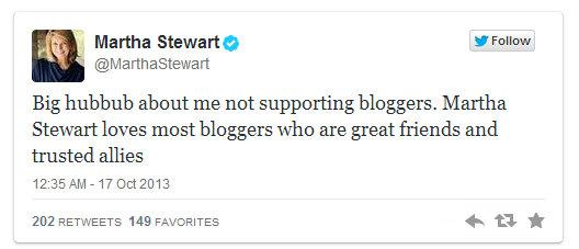 Martha Stewart beszólt a bloggereknek