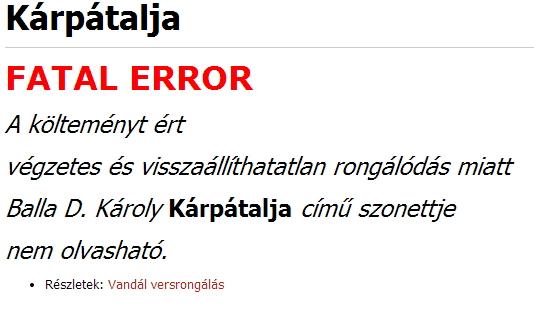 karpatalja-vers - BDK-szonett