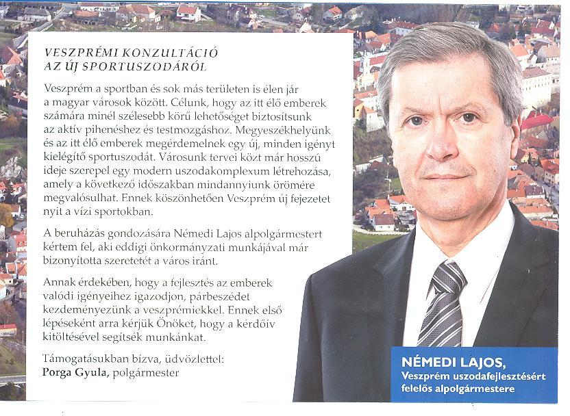 Polgármesteri köszöntő és egy kampányfotó