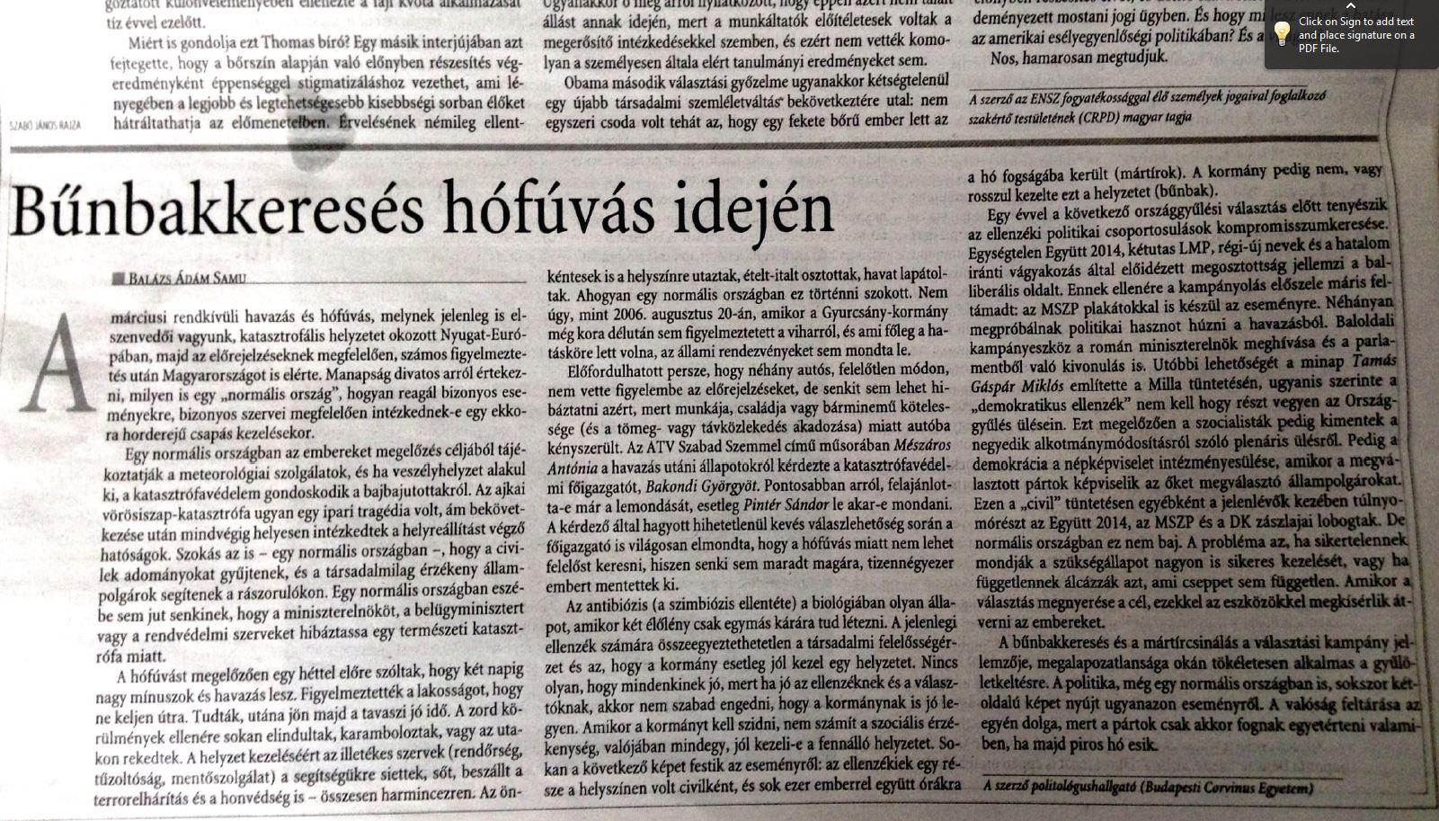 Bűnbakkeresés hófúvás idején, Magyar Nemzet 2013.03.07, 6.o. Vélemény.JPG