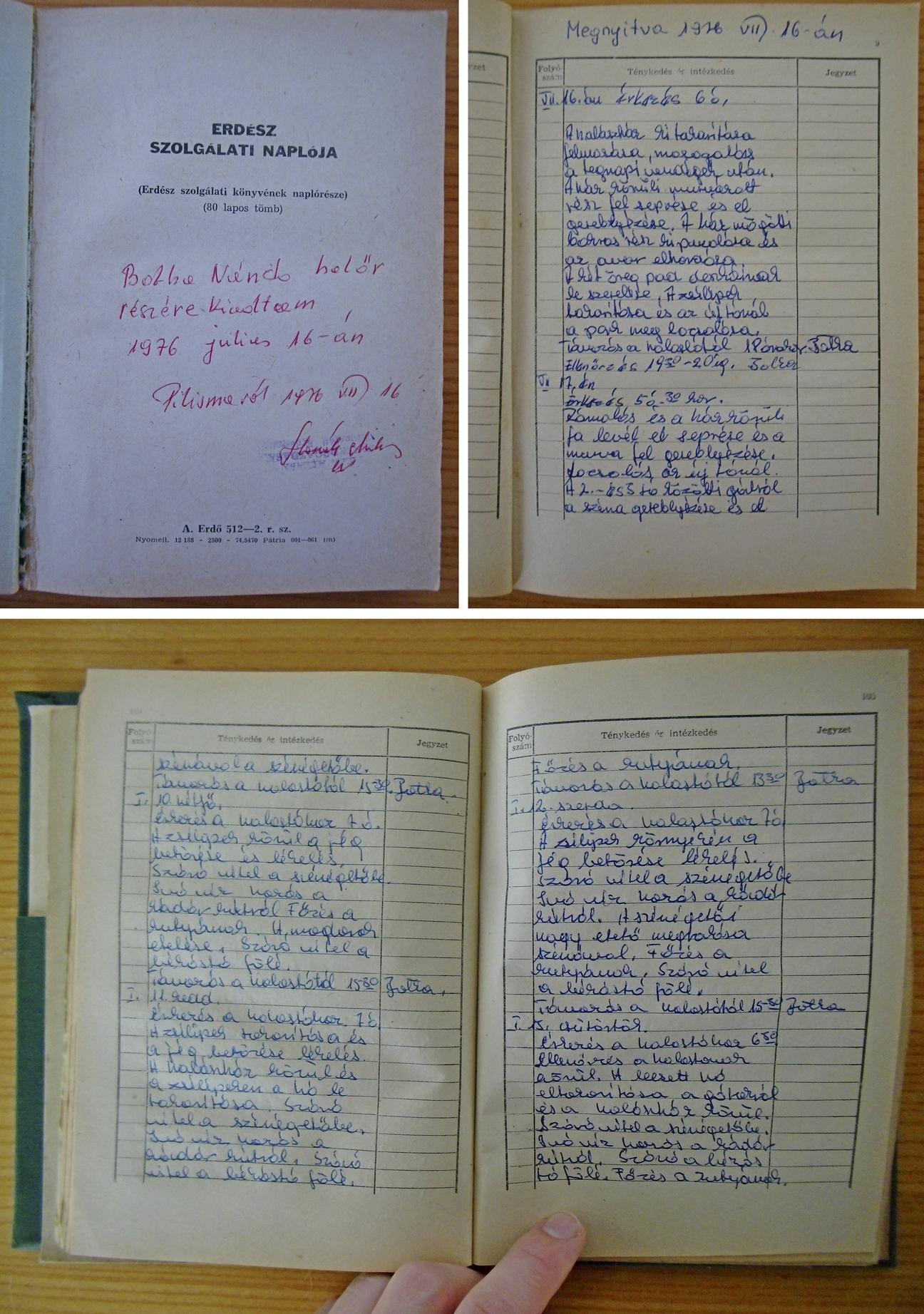 Néhány napja valódi kuriózum került a tulajdonomba: halőri napló 1976-ból