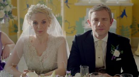Ahogy John és Mary is, csak itt éppen Sherlockot hallgatják... (Maryt Martin Freeman élettársa, Amanda Abbington alakítja.)