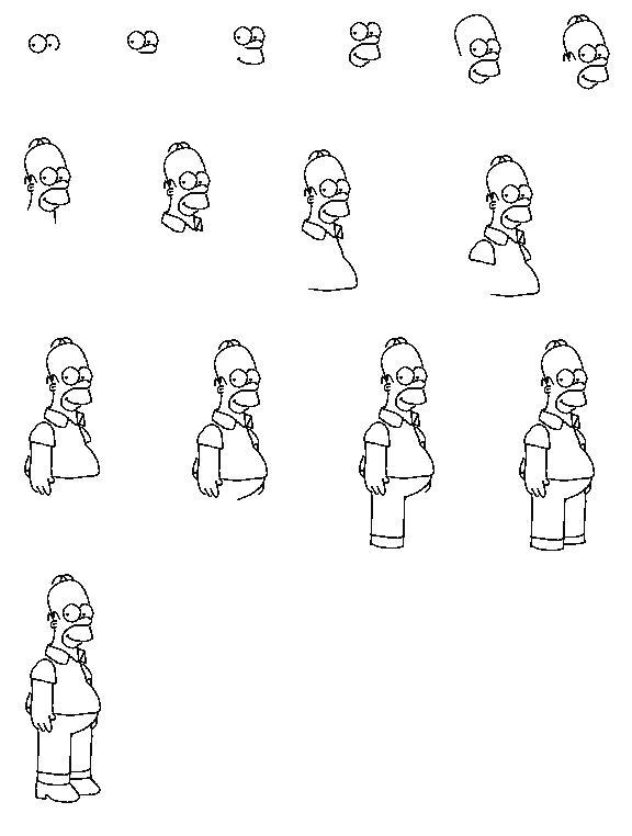 Рисуем Гомера Симпсона - Блоги MyPage.Ru.
