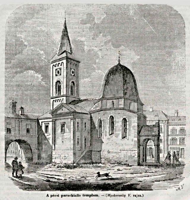 1855 Főtér parochiális templom.jpg