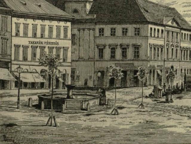 1880 A felső csorgó kút  és a Városháza.jpg