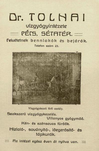 1910 Dr. Tolnai vízgyógyintézete HÍRDETÉS.jpg
