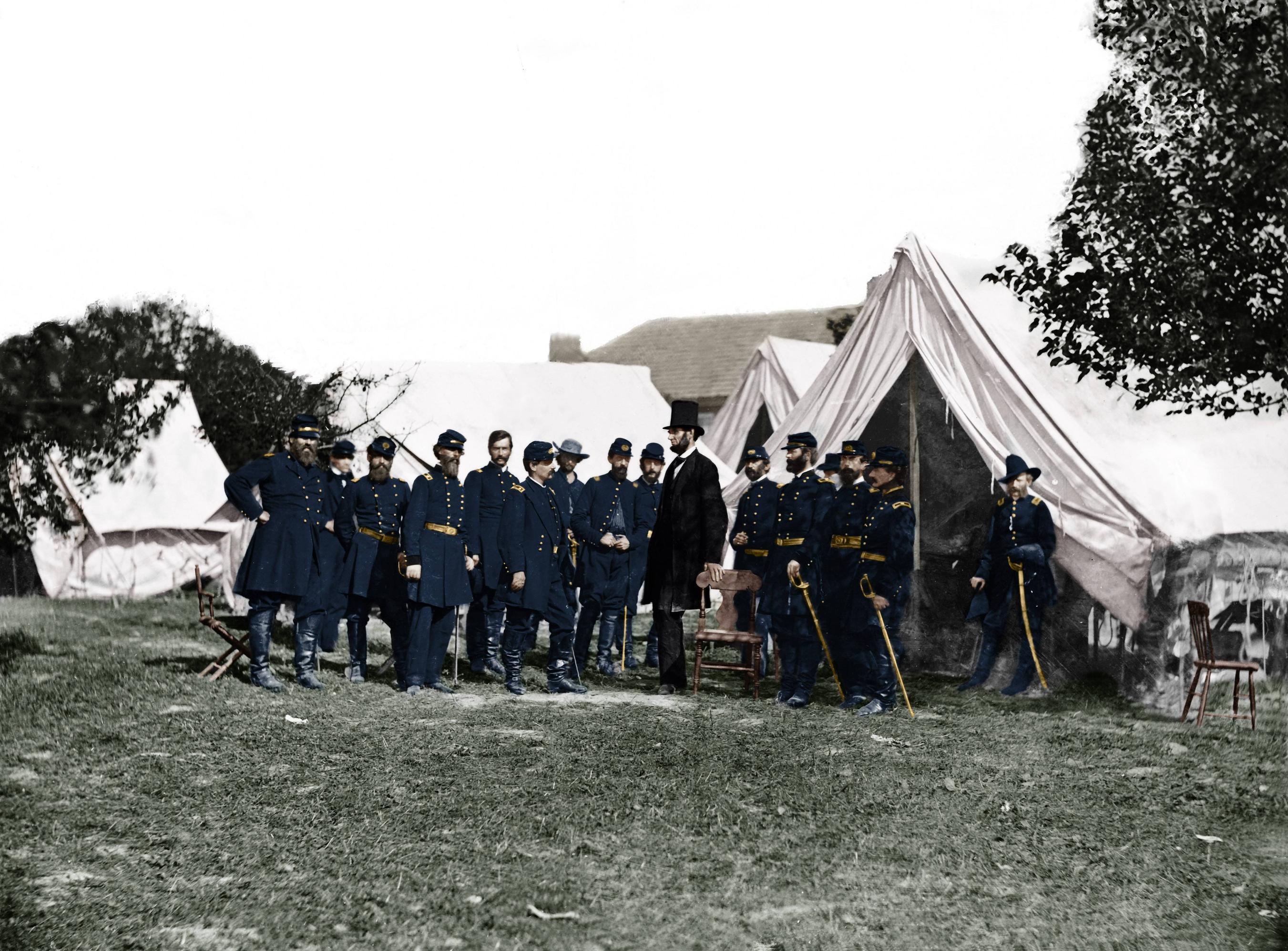 28_Lincoln visiting McClellan after the Antietam battle..jpg