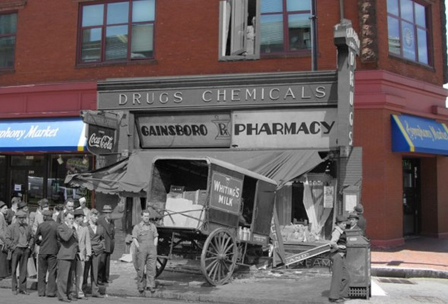 Milk wagon careens into Huntington Avenue pharmacy.jpg