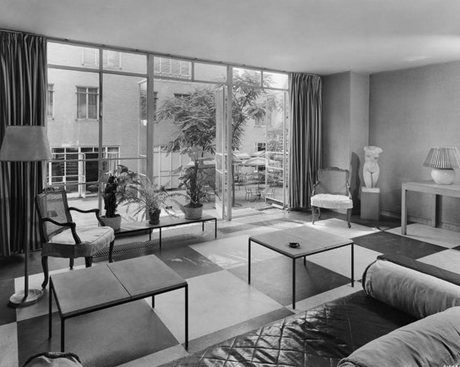 1941. Rockefeller Apartments, lobby into garden. 8-8-1941.jpg