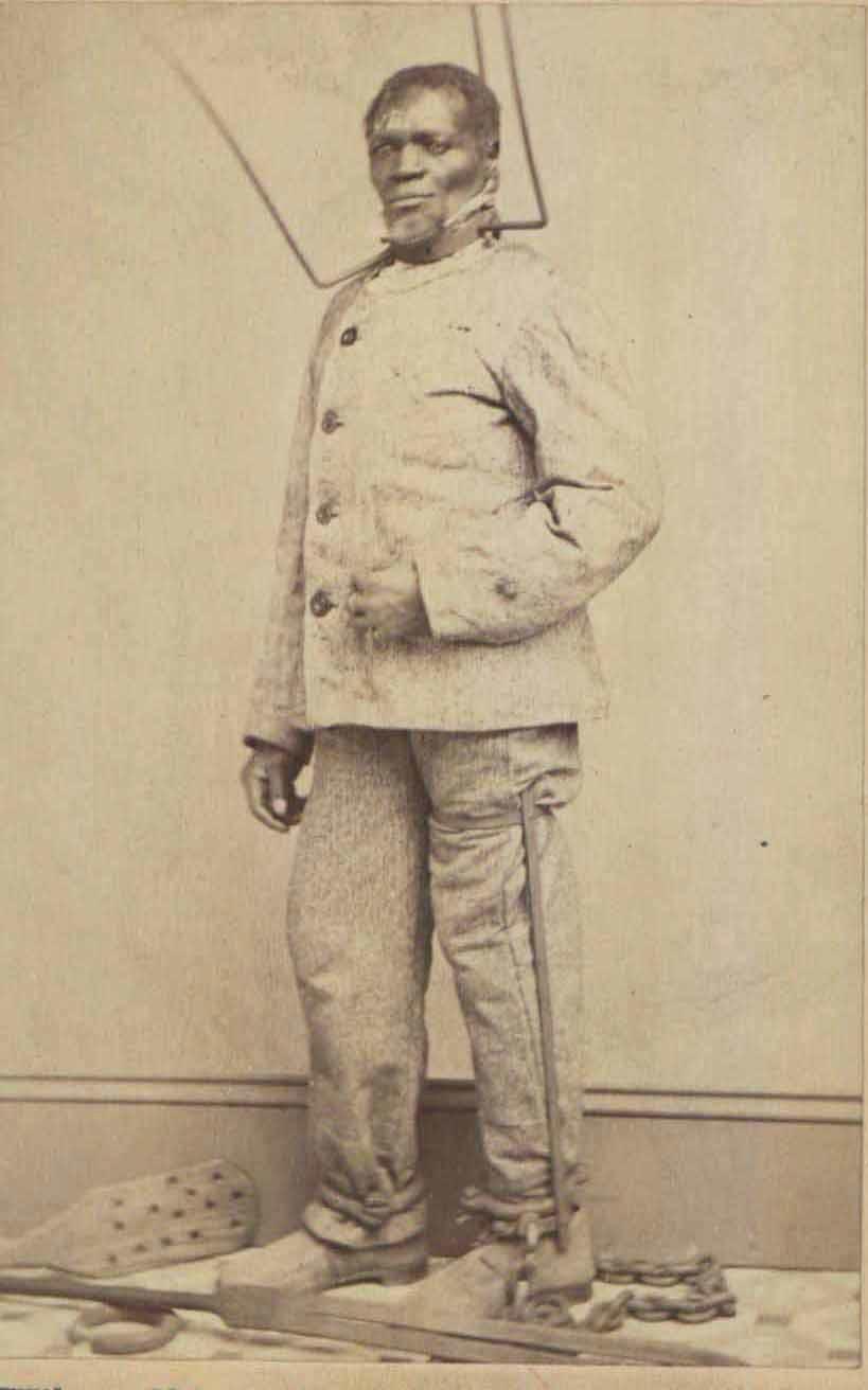 1863. Rabszolga kínzó eszközök. A láb behajlítása elleni sin és a fejen talán a szűk helyen kimászást megakadályozó gallér.jpg
