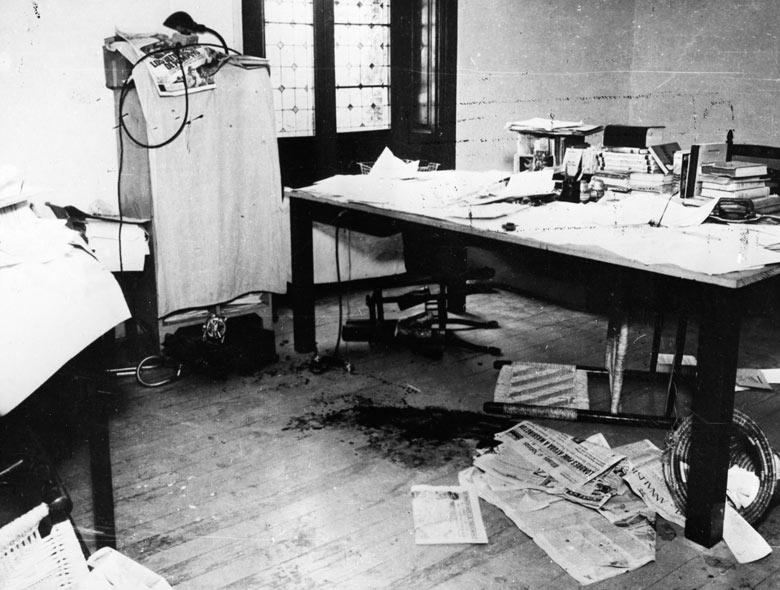 1940. A Trockij gyilkosság színhelye, Mexikó, Coyoacan. Egy spanyol kommunista a KGB elődjének megbízásából egy jégcsákánnyal gyilkolta meg az emigrált szovjet politikust..jpg