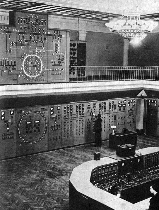 1968. Dubnai részecskegyorsító vezérlőterme a Szovjetunióban..jpg