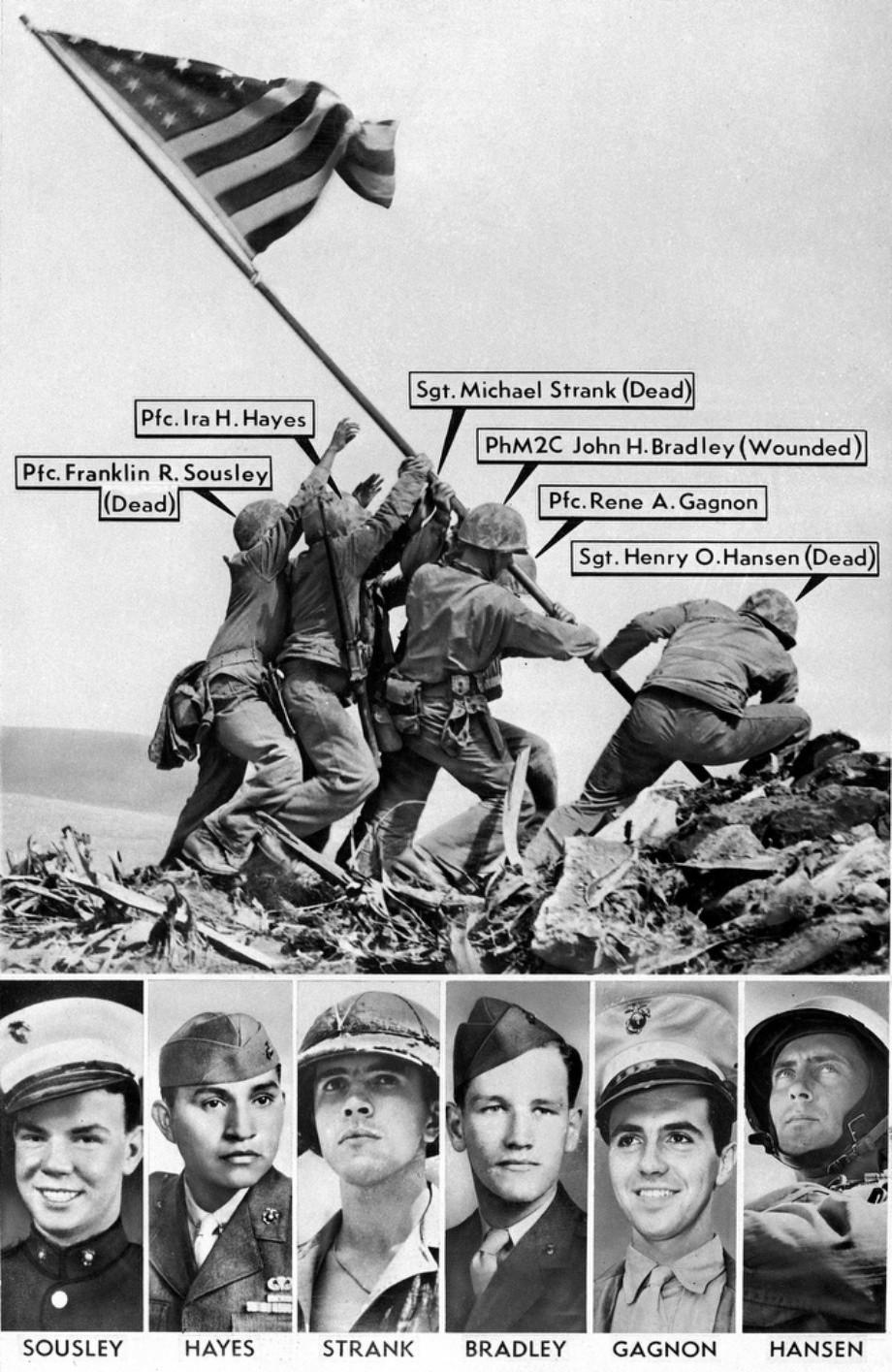 1945. Az iwo jima-i híres zászlóállító kép a katonákkal, ahogy még nem láttuk..jpg