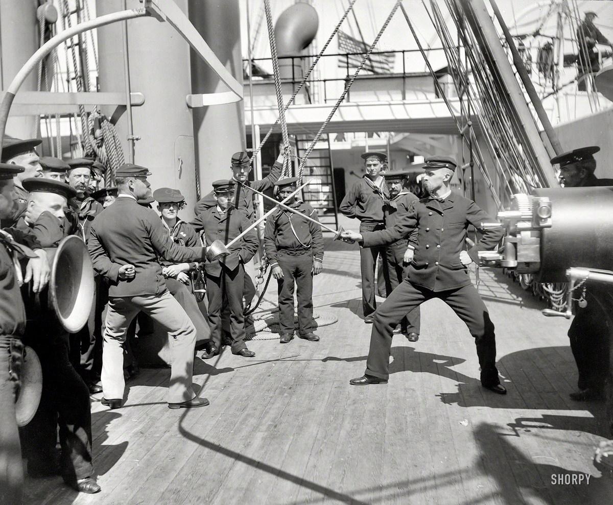 1900. Vívóedzés a USS Newark fedélzetén..jpg