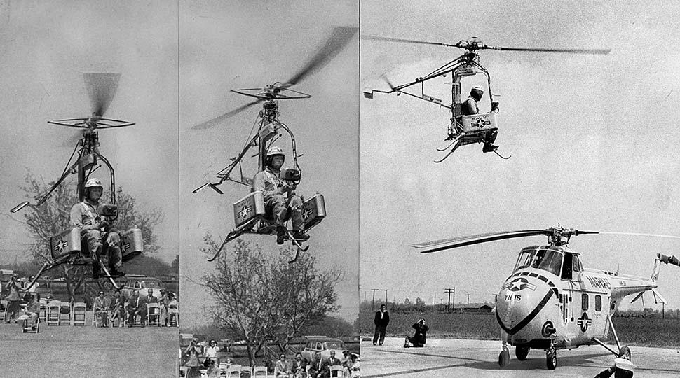 1957. Mini helikopter tesztje az USA-ban. A pilóta néhány nappal később, 15 méter magasból lezuhanva súlyosan megsérült. A gép tönkrement..jpg