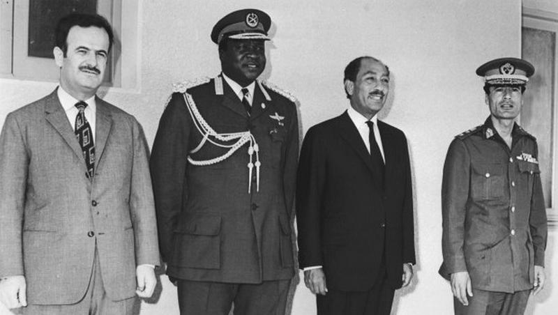 1972. Al Assad, Idi Amin, Anwar Szadat és Moamer Kaddhafi az ugandai Afrika találkozón..jpg