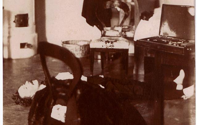 1861. gróf Teleki Pál holtteste. A kép a magyar kriminalisztika számára is fontos kordokumentum, miszerint ez az első helyszinelő fotográfia..jpg
