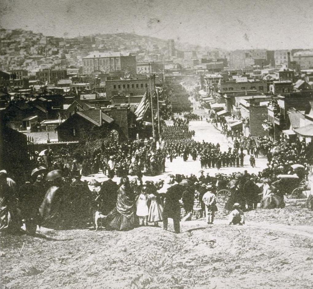 1865. San Francisco. Lincoln elnök meggyilkolása után rendezett megemlékező felvonulás..jpg