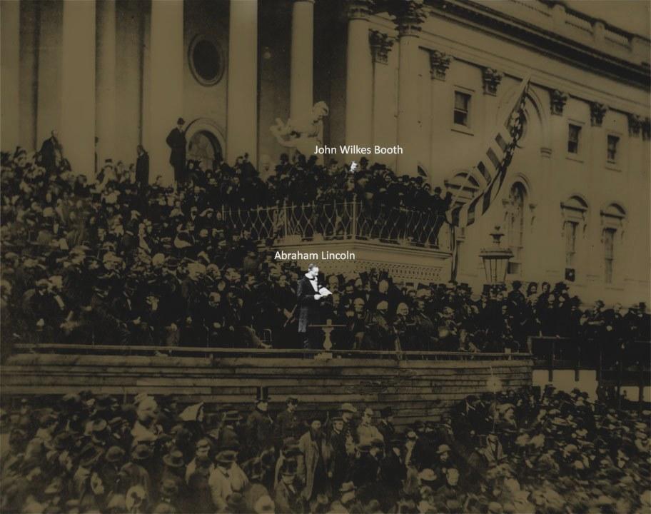 1864. Abraham Lincoln és későbbi gyilkosa egy rendezvényen, már korábban is közelségbe kerültek. Sokak szerint már akkor is merényletet tervezett-e az elnök ellen, de nem volt alkalmas pillanat..jpg