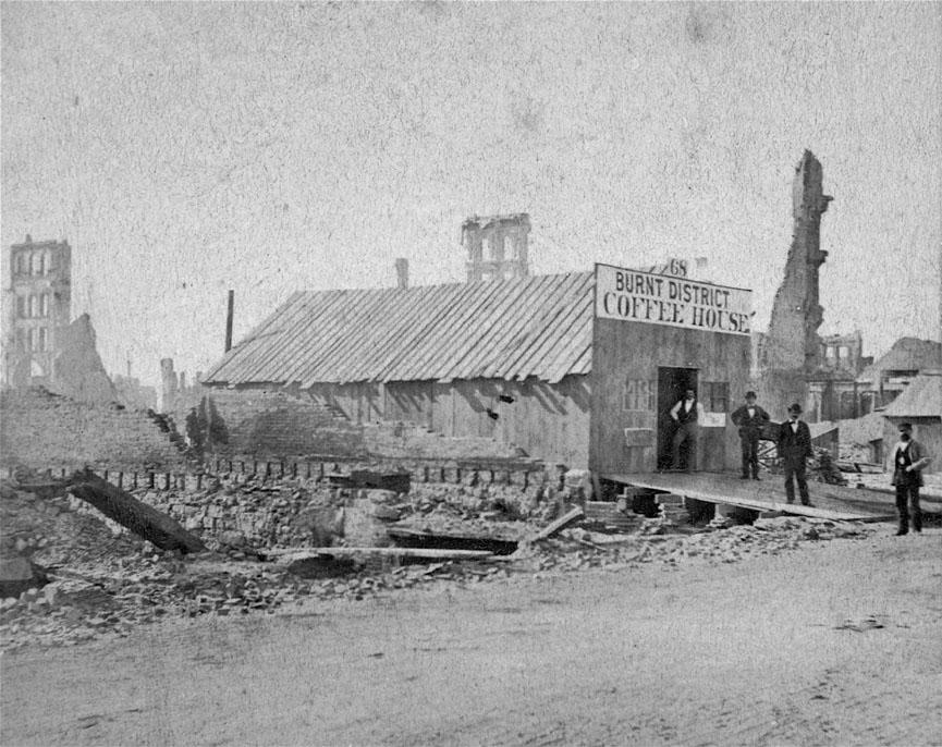 1871. A chicago-i tűzvész után a leégett városrész első sebtében tákolt kávéháza..jpg