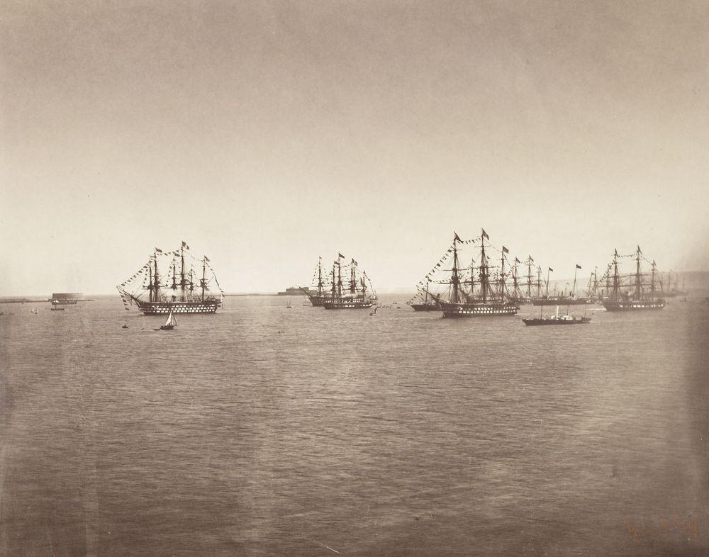 1858. A Brit Királyi Flotta útban hazafelé Franciaoszágból, fedélzetén Viktória királynővel, aki III. Napóleont látogatta meg..jpg