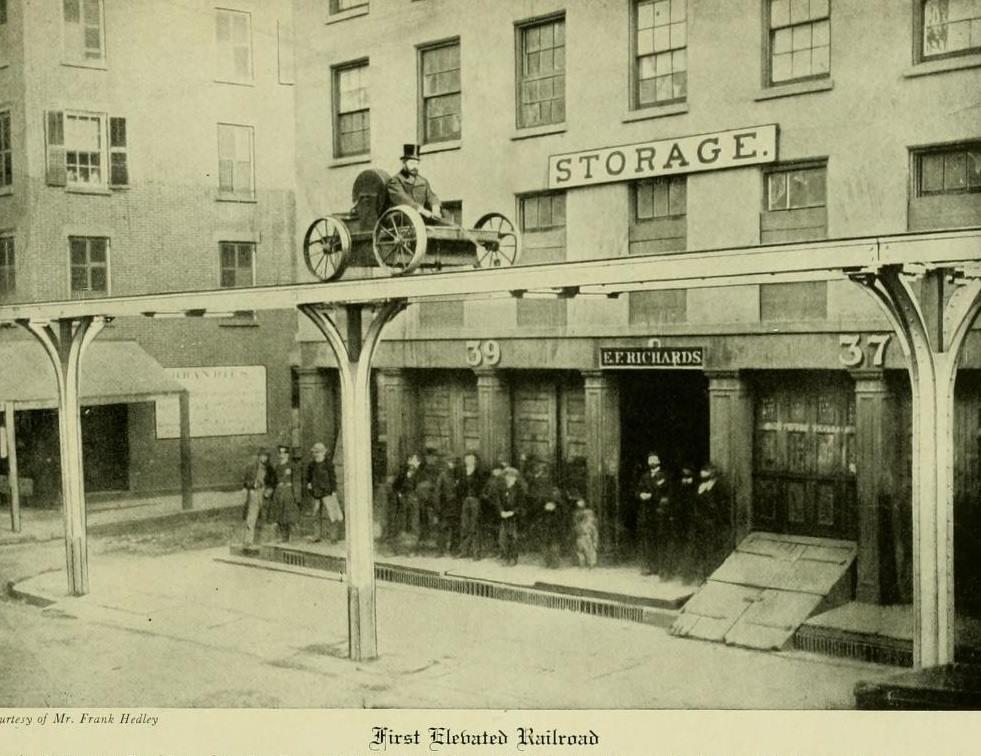 1867. A világ első tervezett magasvasút próbái New Yorkban..jpg