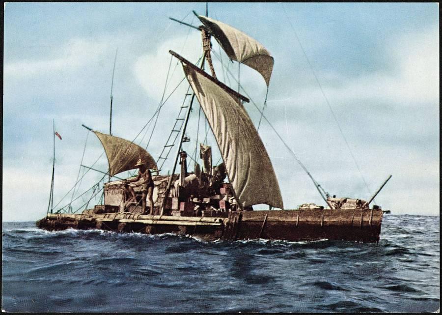 1947. Thor Heyerdahl Kon-Tiki expedíciója. A kutató papíruszhajóval kelt át a Csendes-óceánon, ezzel bizonyítve, hogy.jpg