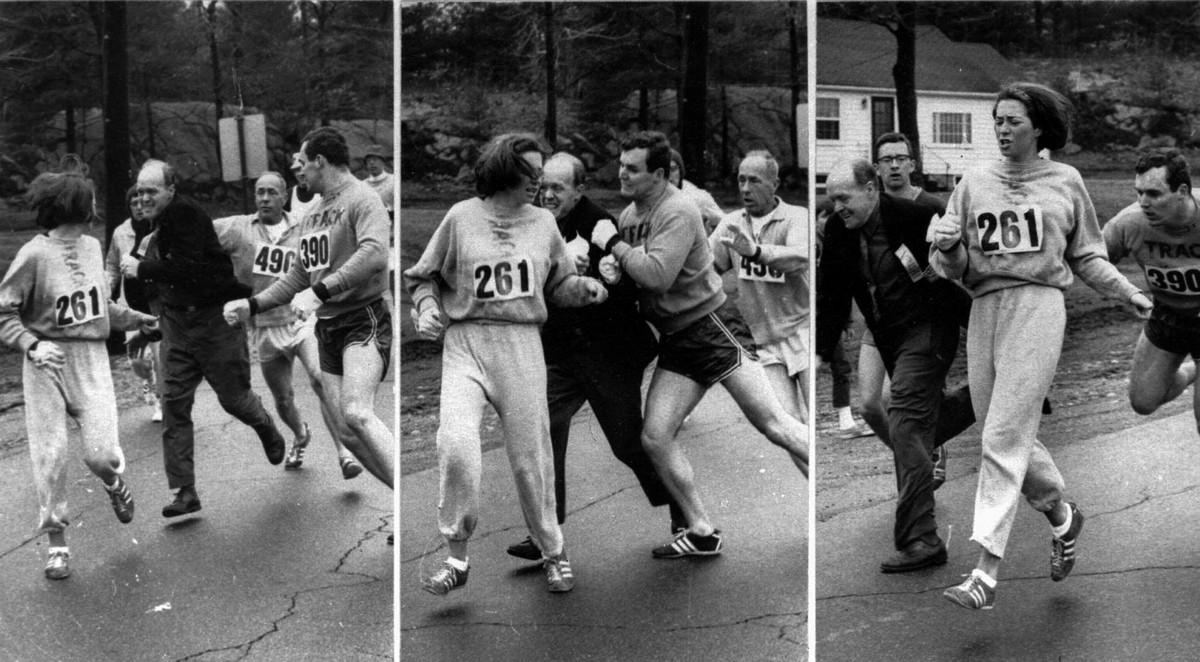 1967. Az eredetileg férfiak számára indított Boston maraton első női versenyzőjét egy férfi próbálja kilökni a pályáról..jpg