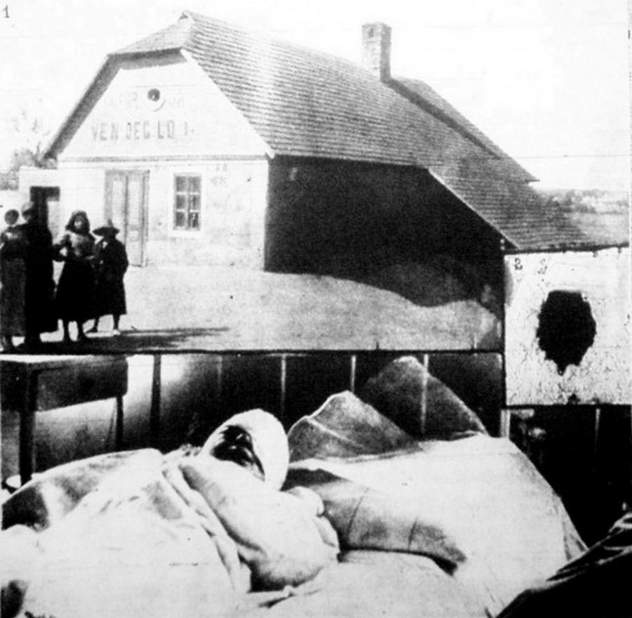 1911. Az edelényi gyilkosság. 1._a_csarda_ahol_a_gyilkossag_tortent_2._a_gyilkos_altal_kivajt_ureg_amelyen_belopozott_a_csardaba_3._az_aldozat_aki_harom_napig_eszmeletlenul_fekudt_a_korhazban_mielott_meghalt.jpg