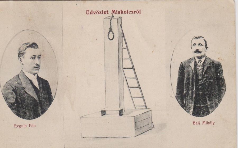 1911. Morbid üdvözlőlap az edelényi gyilkosságról. Balra a gyilkos, jobbra a hóhér fotójával..jpg