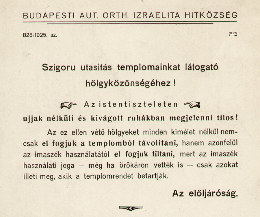 1928. A Budapesti Autonóm Orthodox Izraelita Hitközség templomokban kifüggesztett utasítása._cr.jpg