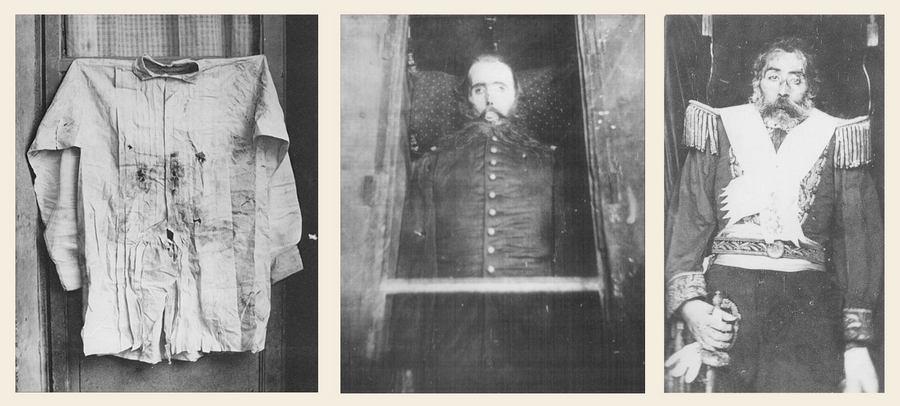 1867. A kivégzett Habsburg I. Miksa Mexikó császára. Balra a kivégzéskor viselt inge, középen a Mexikóban készült post-mortem fotója, jobbra a Bécsbe hozott holttest..jpg