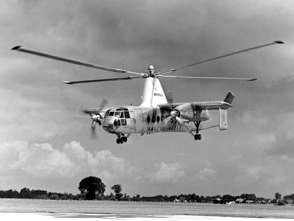 1955 körül. Fairey Rotodyne a brit giroplán. A giroplán merevszárnyú repülőgépre szerelt rotoros gép. Igazán nagy előnye nem volt a helikopterekkel szemben..jpg