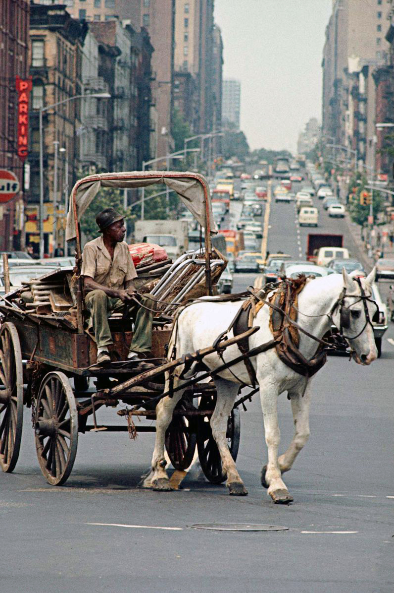 1970. New York Harlem. Fémgyűjtő, lovaskocsijával..jpg
