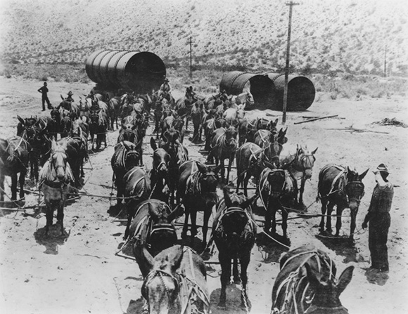 1913. Los Angelesi víztározó építése során felhasznált anyagokat öszvérekkel szállították..jpg