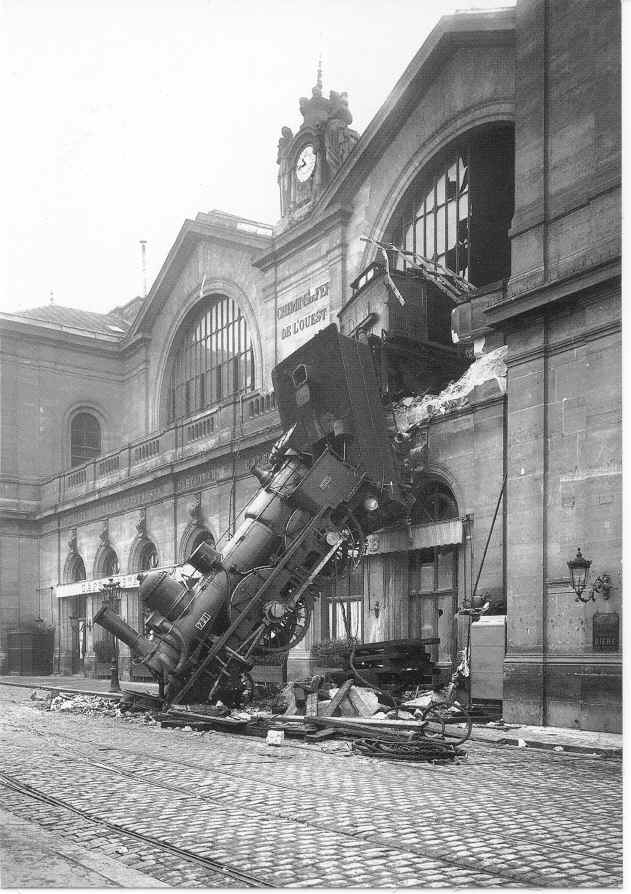 1895. Granville-Paris Expressz fékhiba miatt áttörte a Gare Montparnasse állomás falát Párizsban..jpg